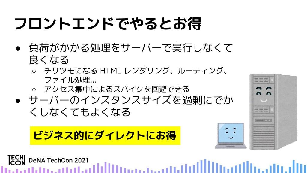● 負荷がかかる処理をサーバーで実行しなくて 良くなる ○ チリツモになる HTML レンダリ...