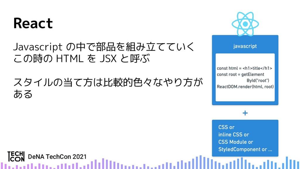 Javascript の中で部品を組み立てていく この時の HTML を JSX と呼ぶ スタ...
