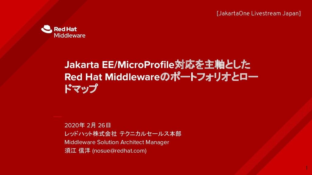2020年 2月 26日 レッドハット株式会社 テクニカルセールス本部 Middleware ...