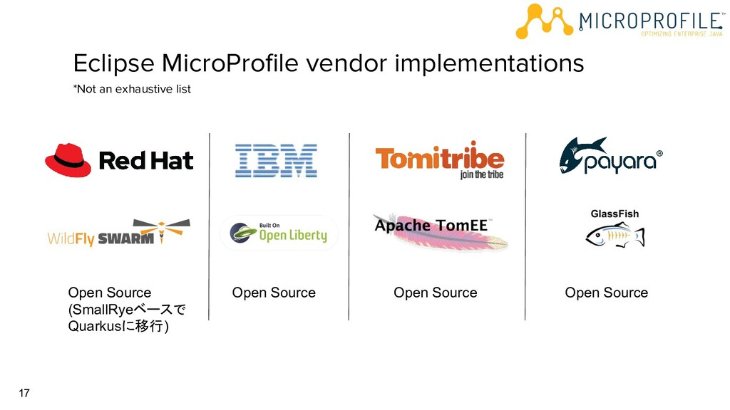 17 Eclipse MicroProfile vendor implementations *...