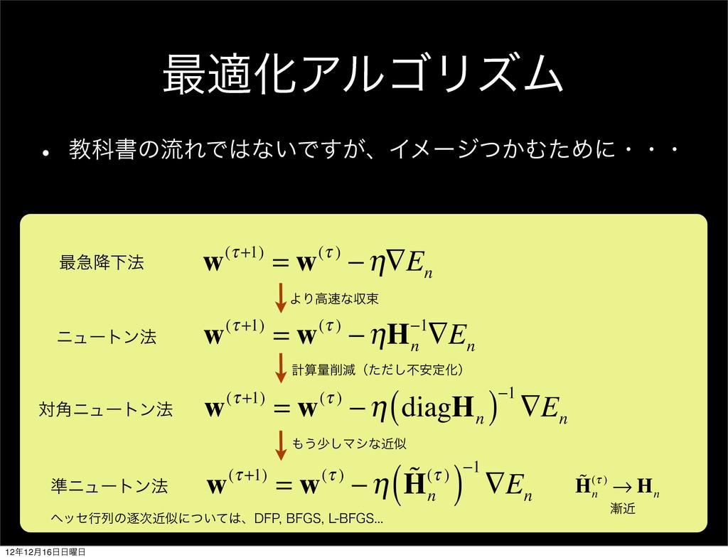 ࠷దԽΞϧΰϦζϜ w(τ +1) = w(τ ) −η∇E n w(τ +1) = w(τ ...