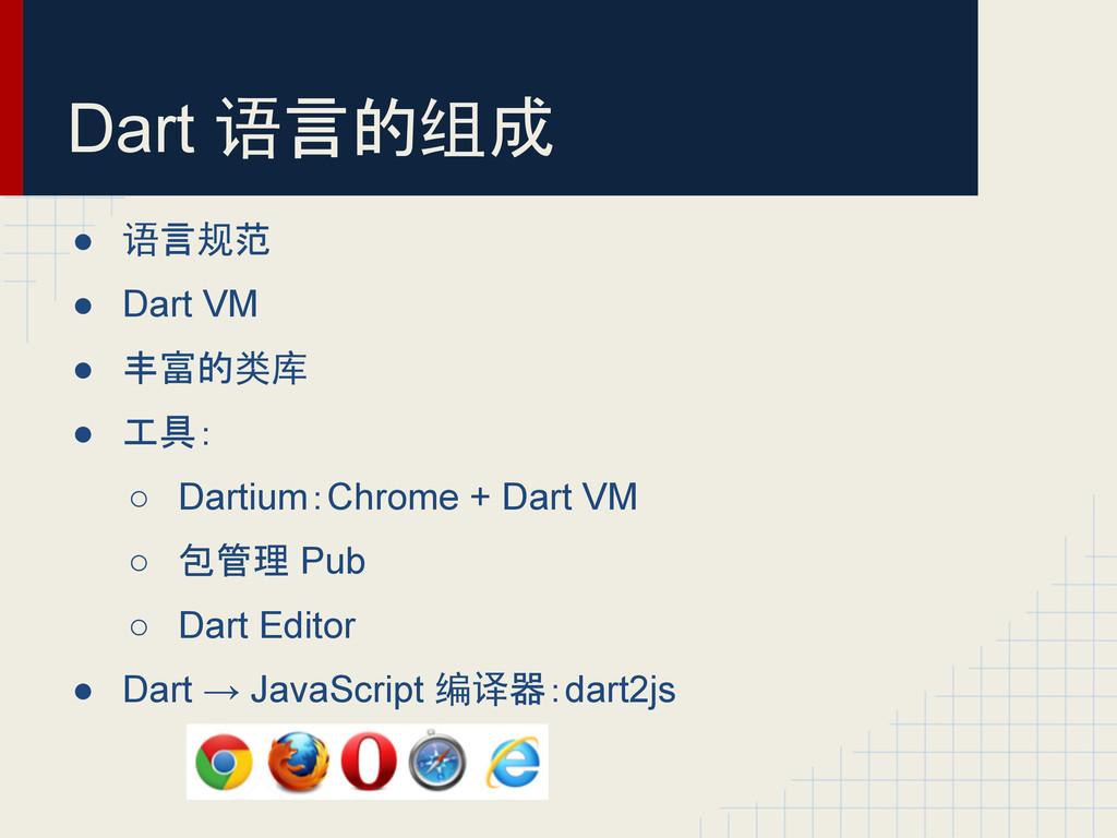 Dart 语言的组成 ● 语言规范 ● Dart VM ● 丰富的类库 ● 工具: ○ Dar...