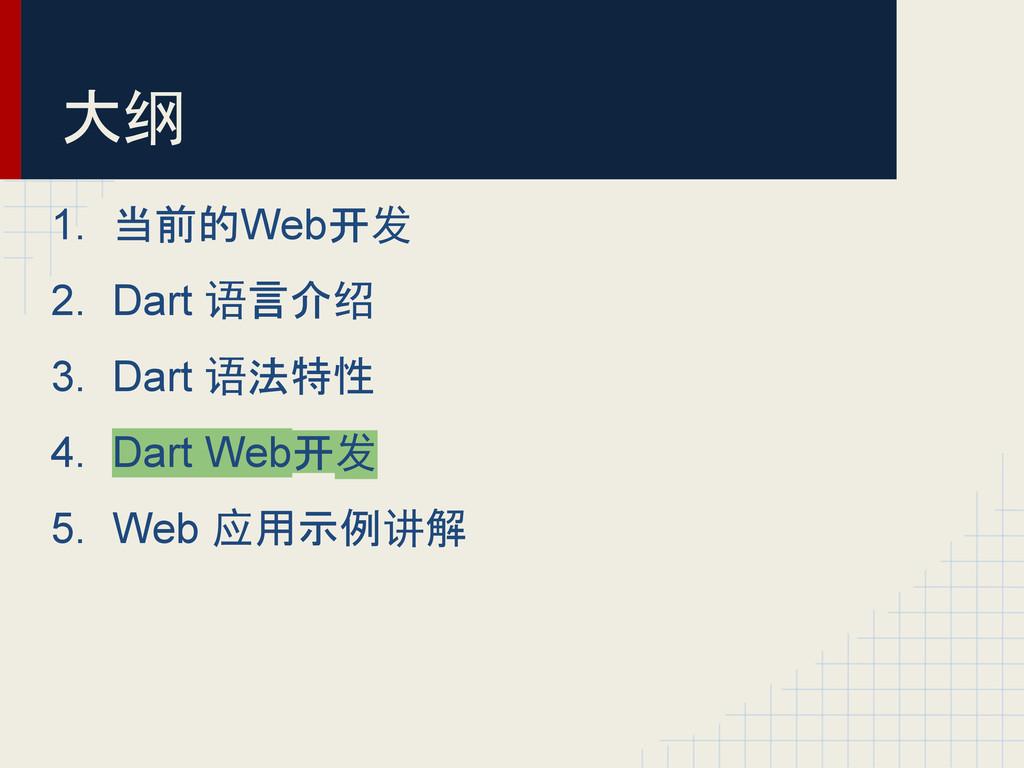 1. 当前的Web开发 2. Dart 语言介绍 3. Dart 语法特性 4. Dart W...
