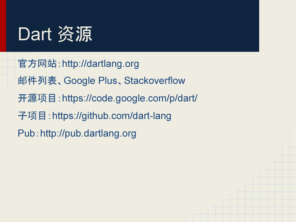 Dart 资源 官方网站:http://dartlang.org 邮件列表、Google Pl...