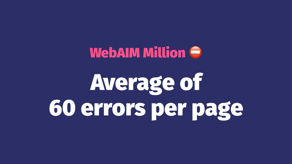 WebAIM Million Average of 60 errors per page