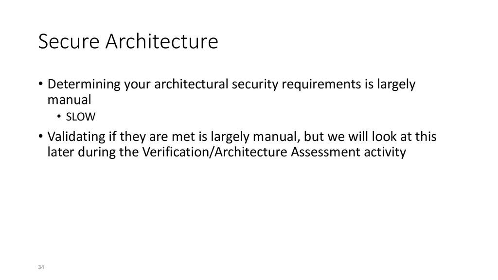 Secure Architecture • Determining your architec...