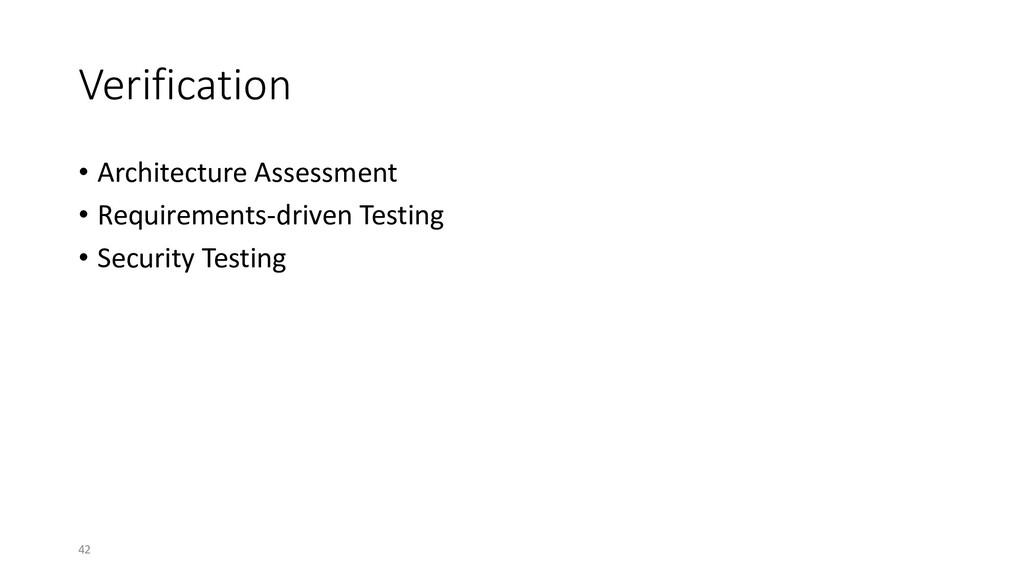 Verification • Architecture Assessment • Requir...