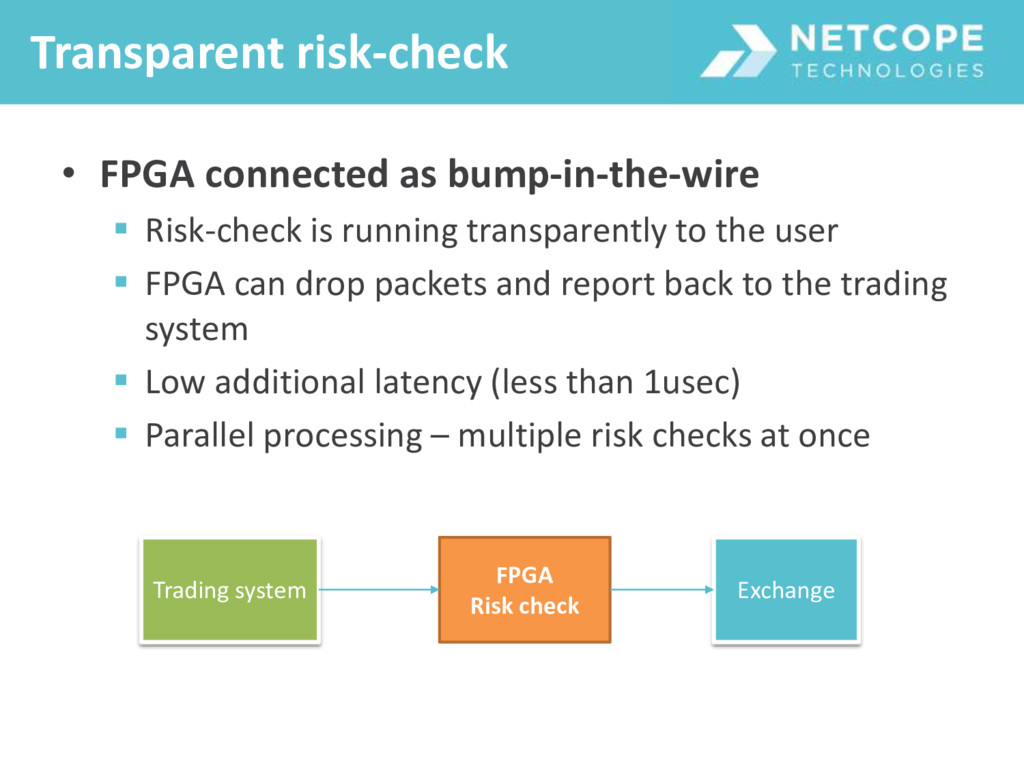 • FPGA connected as bump-in-the-wire  Risk-che...