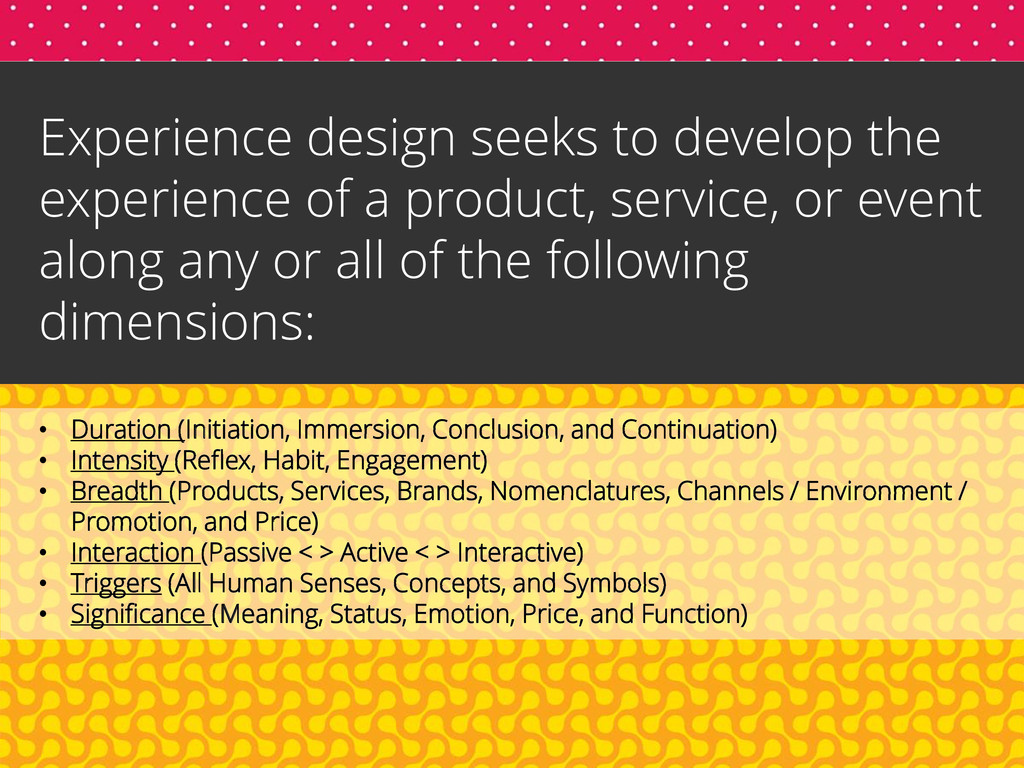 Experience design seeks to develop the experien...