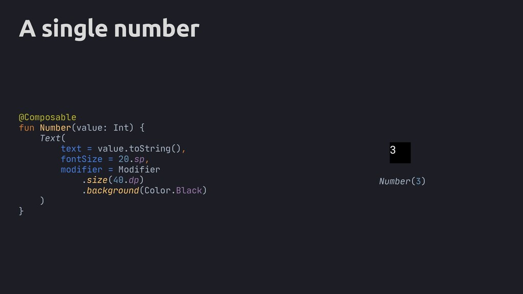 A single number text = value.toString(), fontSi...
