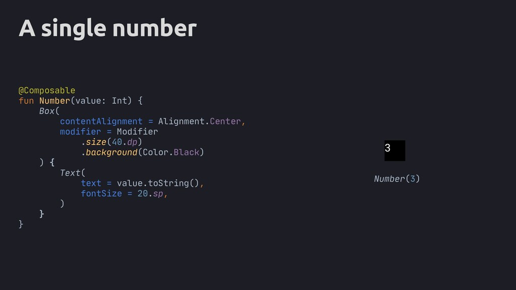 A single number Box( contentAlignment = Alignme...