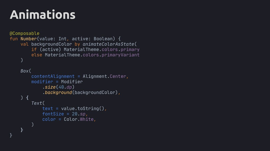Animations @Composable fun Number(value: Int, a...
