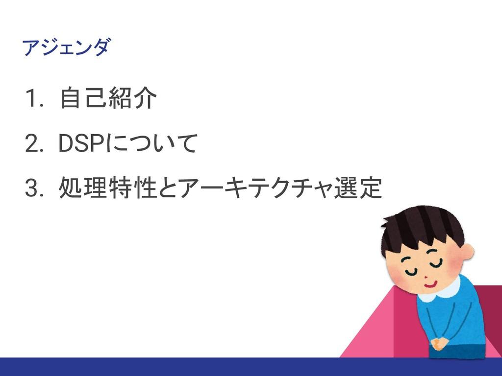 アジェンダ 1. 自己紹介 2. DSPについて 3. 処理特性とアーキテクチャ選定