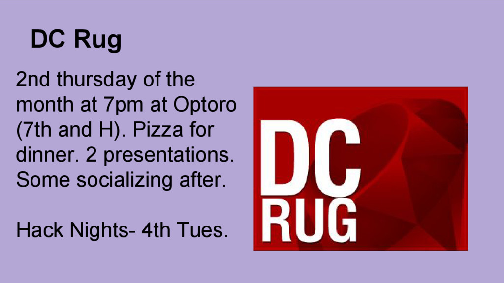 DC Rug 2nd thursday of the month at 7pm at Opto...