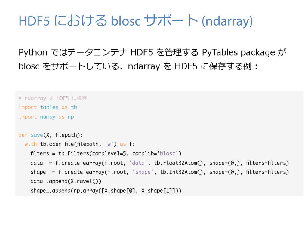 HDF5 における blosc サポート (ndarray) Python ではデータコンテナ...