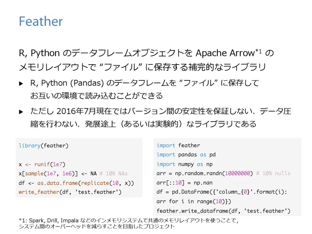 Feather R, Python のデータフレームオブジェクトを Apache Arrow*...