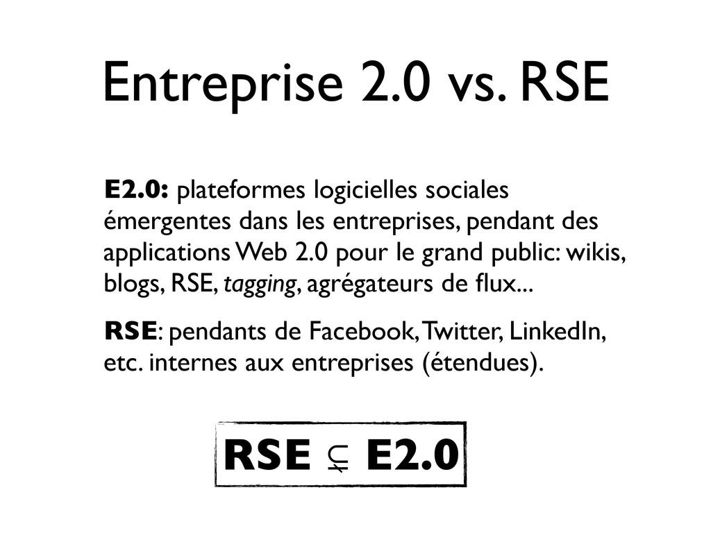 Entreprise 2.0 vs. RSE E2.0: plateformes logici...