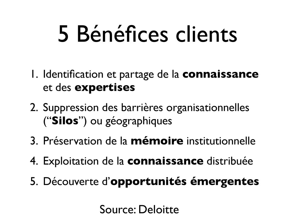 5 Bénéfices clients 1. Identification et partage ...