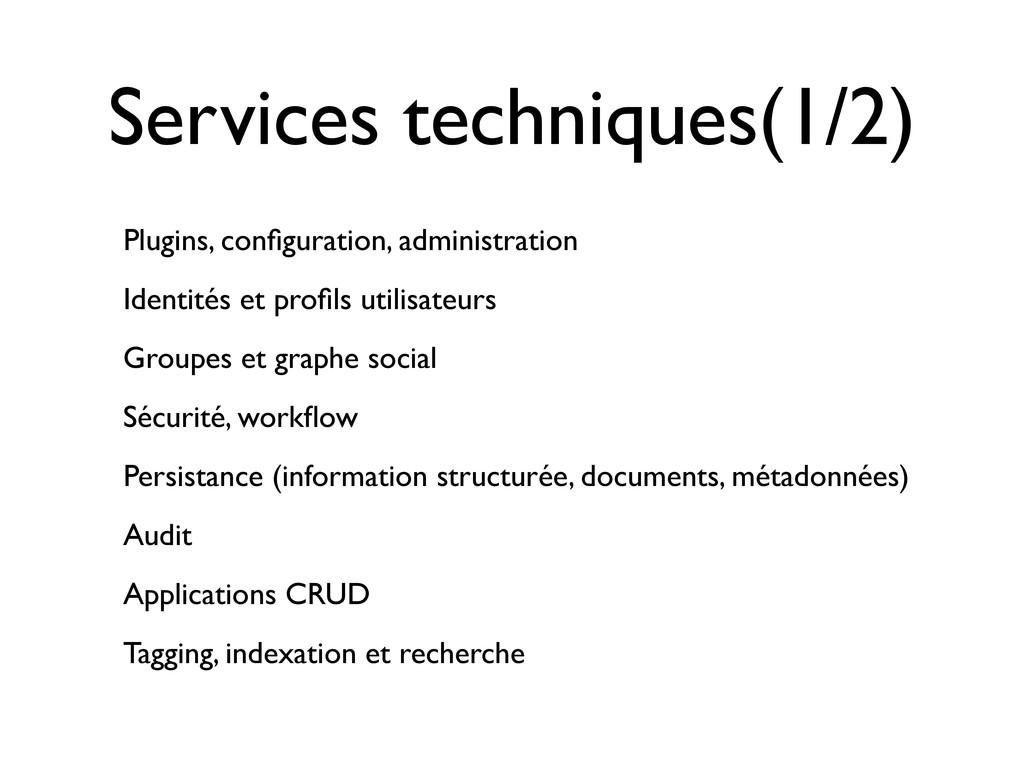 Services techniques(1/2) Plugins, configuration,...