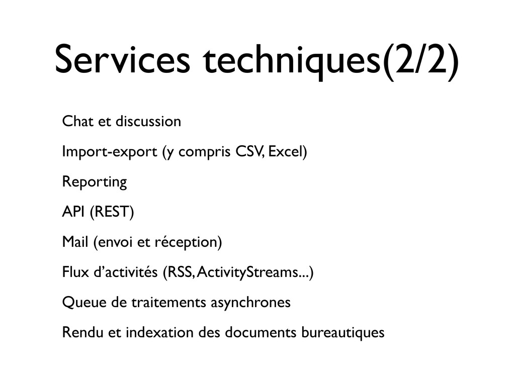 Services techniques(2/2) Chat et discussion Imp...