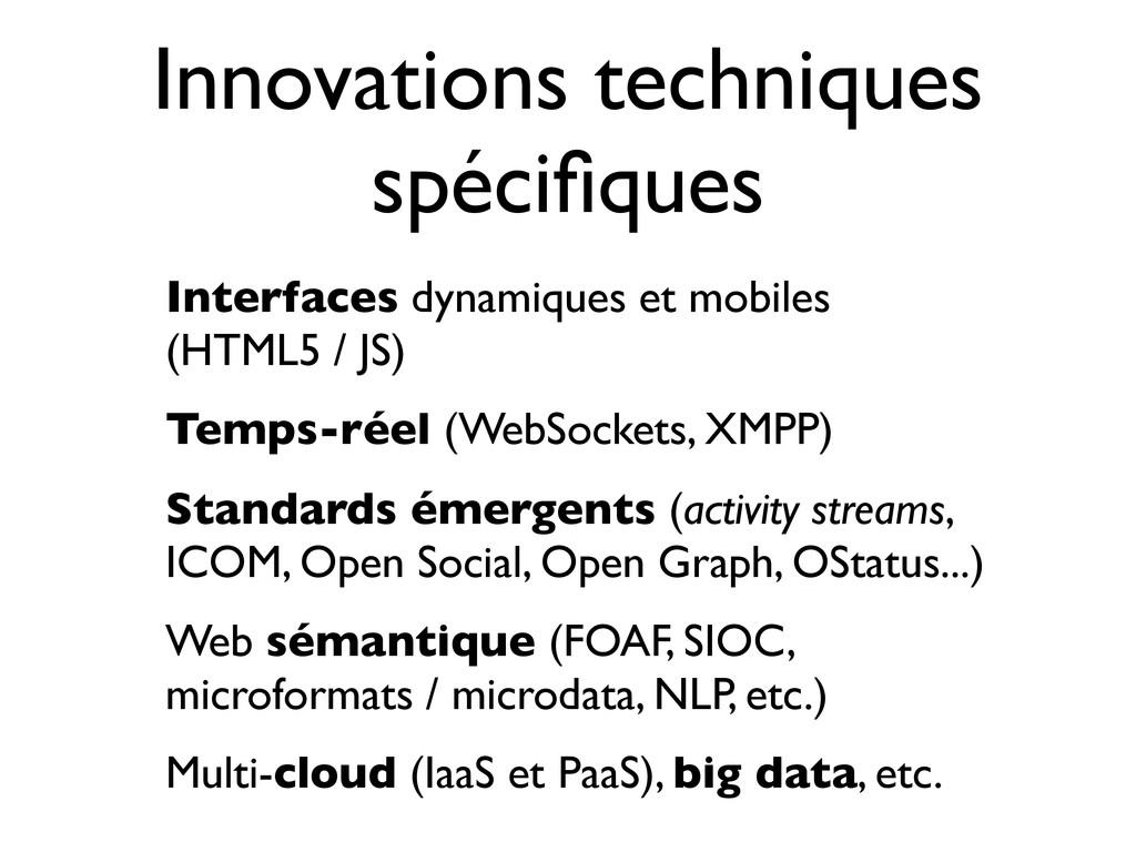 Innovations techniques spécifiques Interfaces dy...