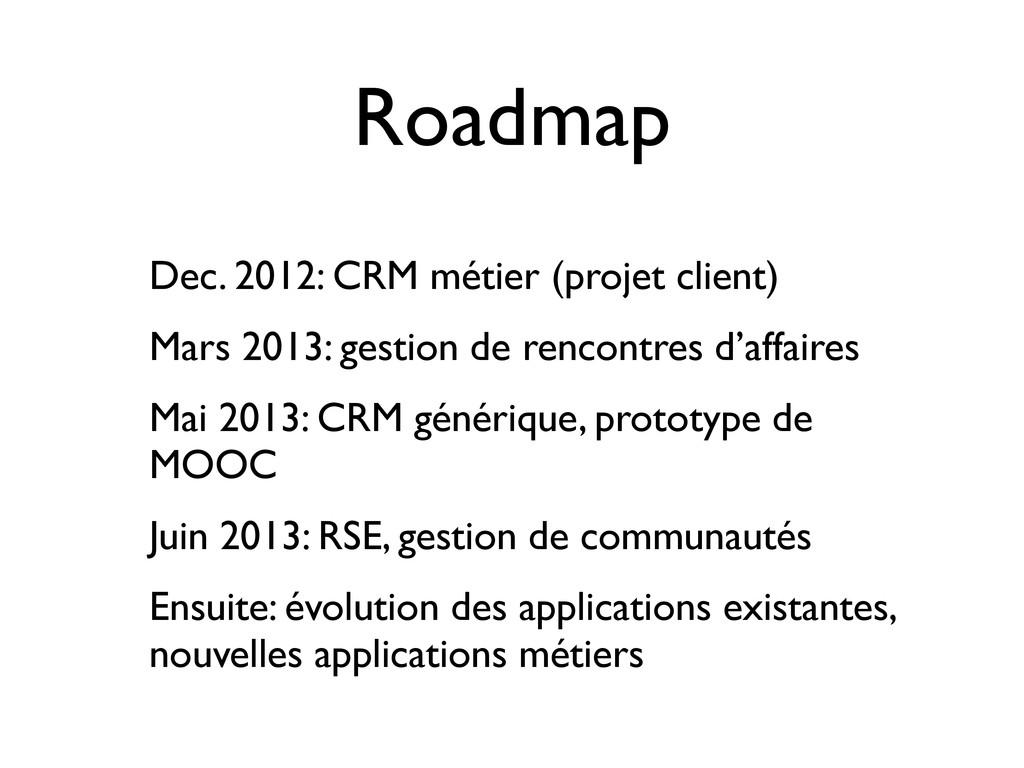 Roadmap Dec. 2012: CRM métier (projet client) M...