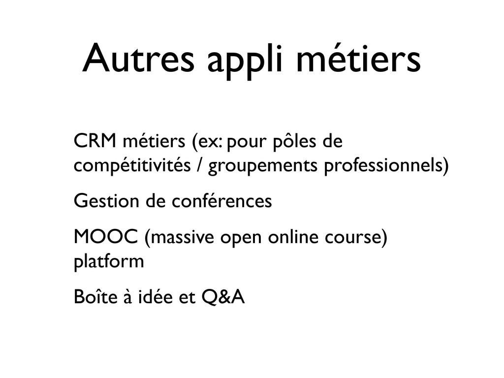 Autres appli métiers CRM métiers (ex: pour pôle...