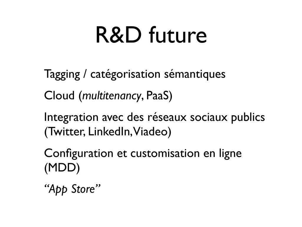 R&D future Tagging / catégorisation sémantiques...