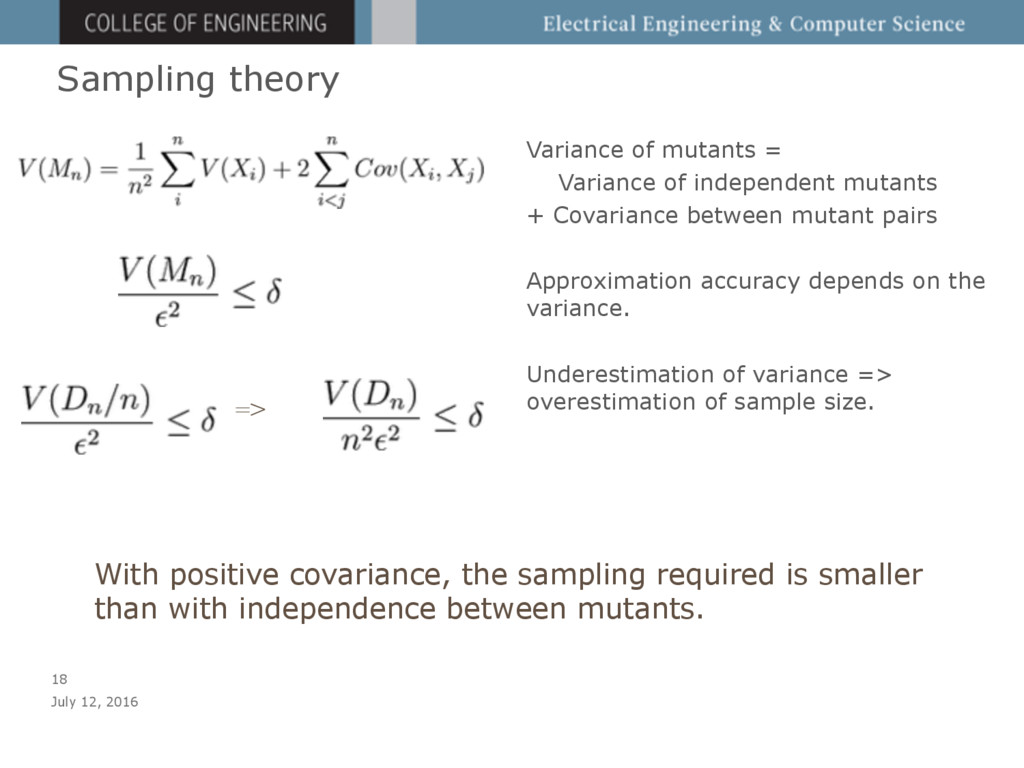 Sampling theory Variance of mutants = Variance ...