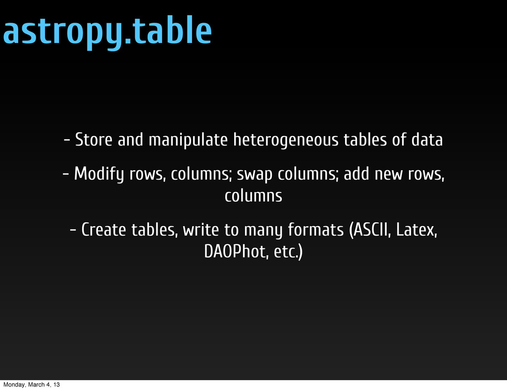 astropy.table - Store and manipulate heterogene...
