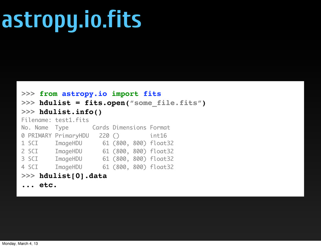 astropy.io.fits >>> from astropy.io import fits...