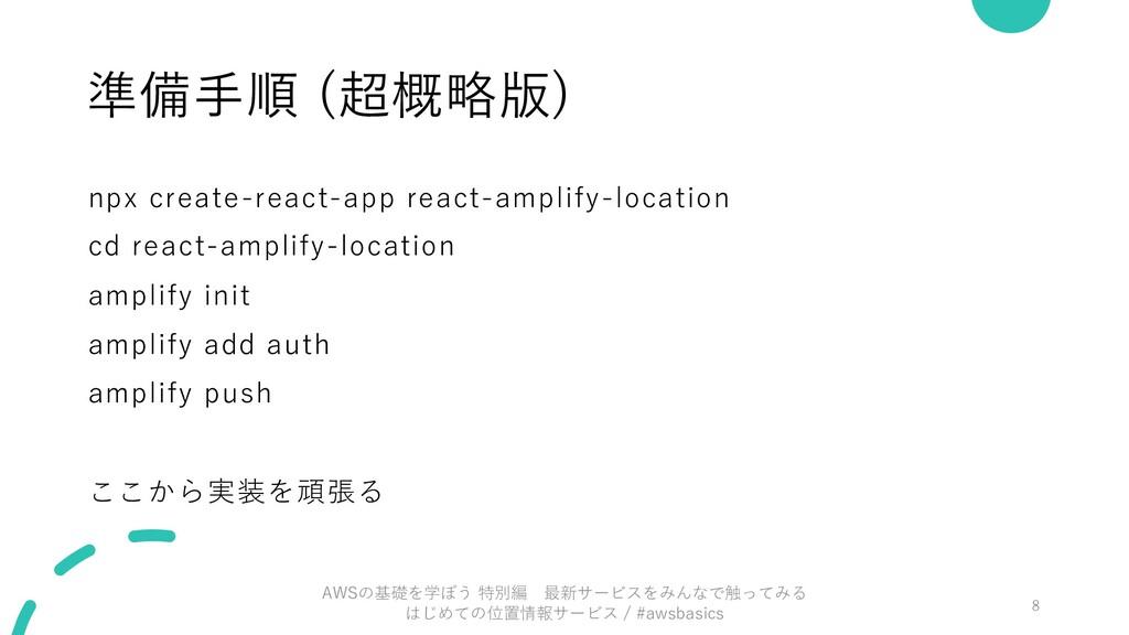 準備⼿順 (超概略版) npx create-react-app react-amplify-...
