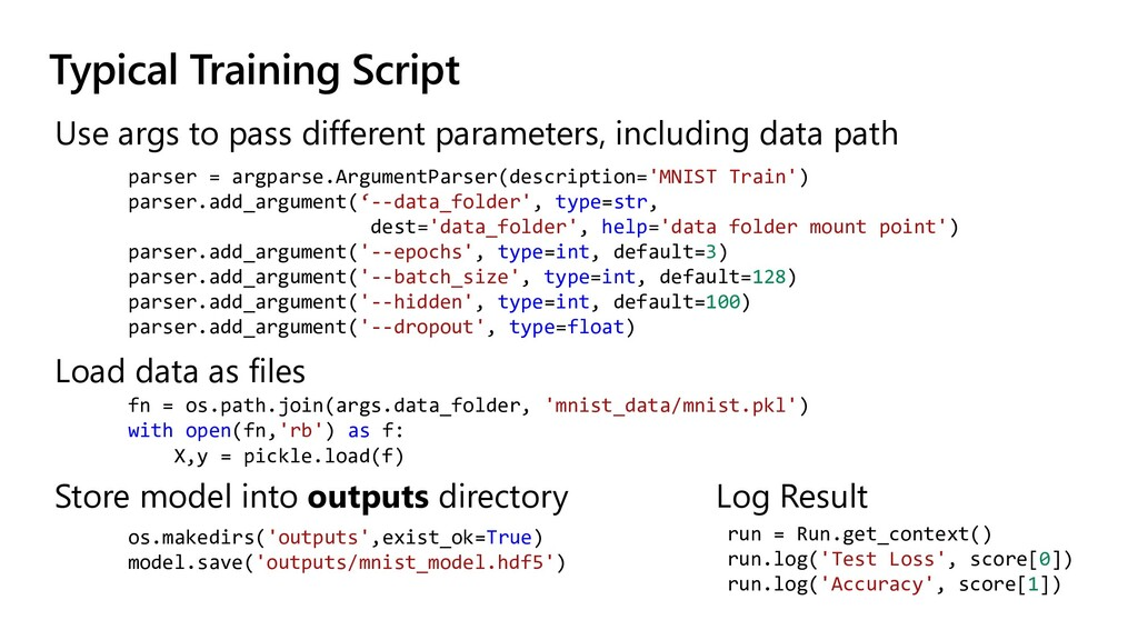 Typical Training Script Use args to pass differ...
