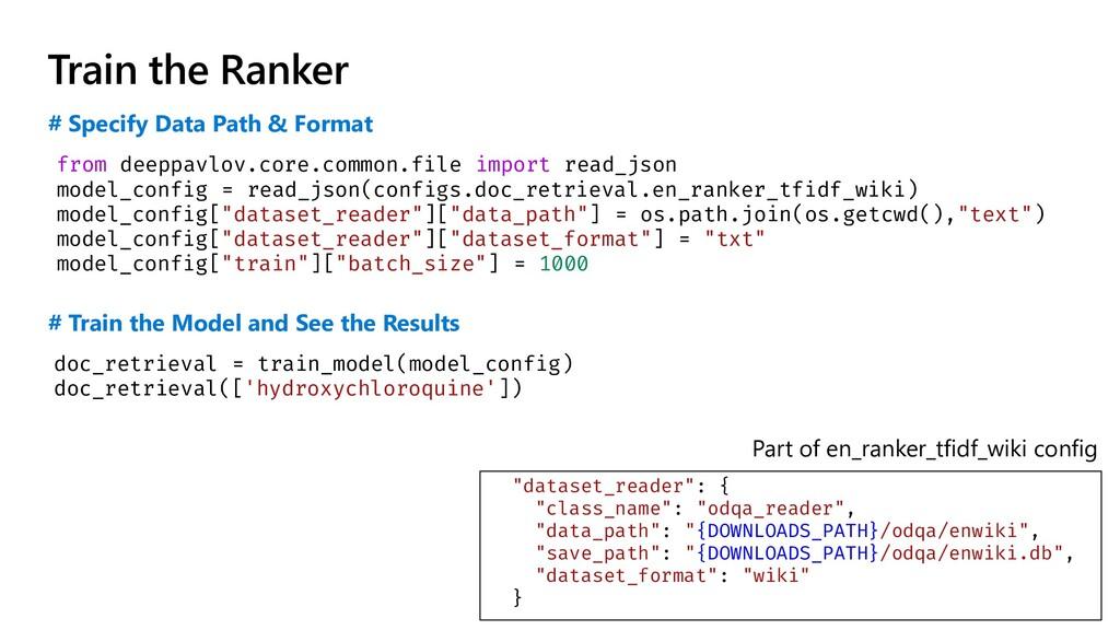 Train the Ranker from deeppavlov.core.common.fi...