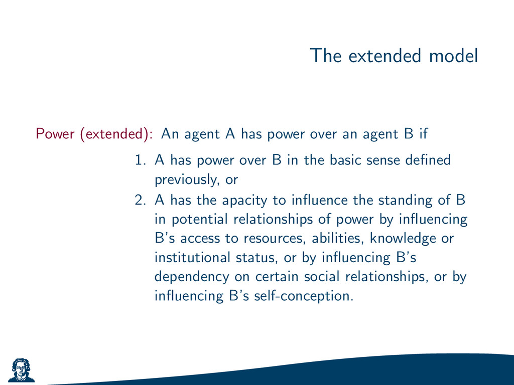 The extended model Power (extended): An agent A...
