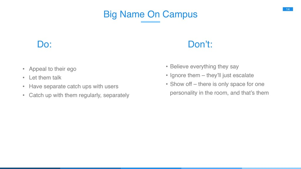 Big Name On Campus 14 • Appeal to their ego • L...