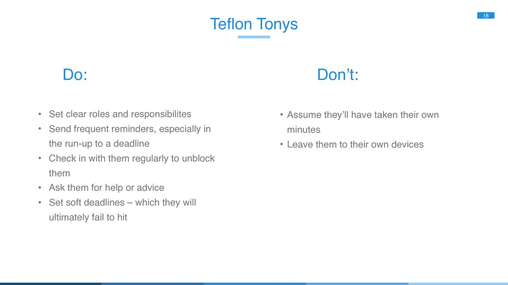Teflon Tonys 18 • Set clear roles and responsib...