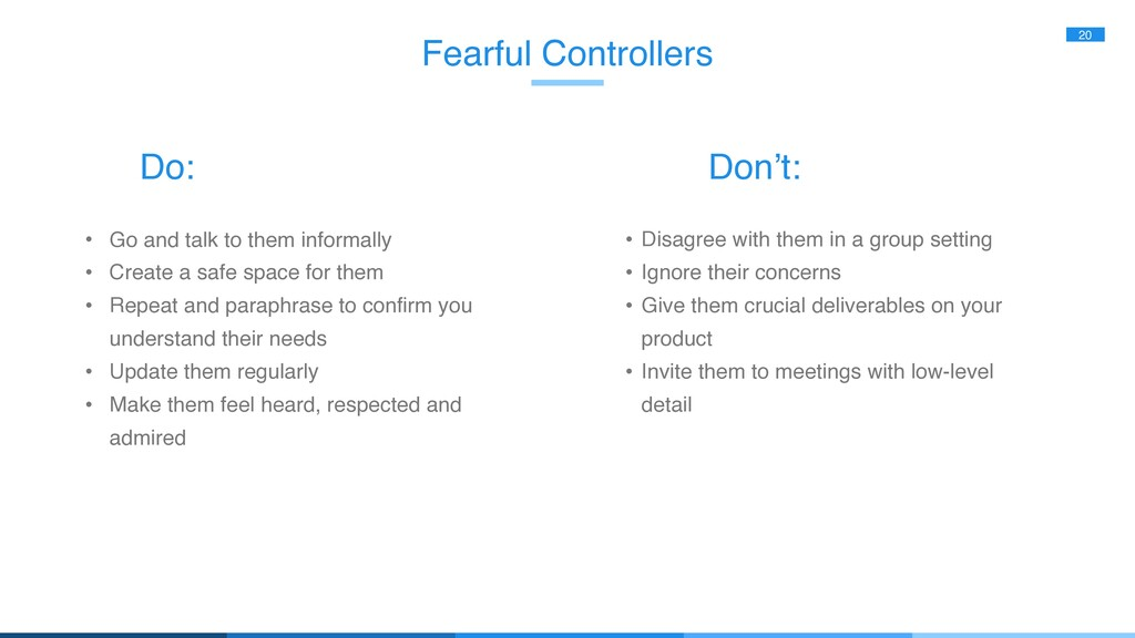 Fearful Controllers 20 • Go and talk to them in...