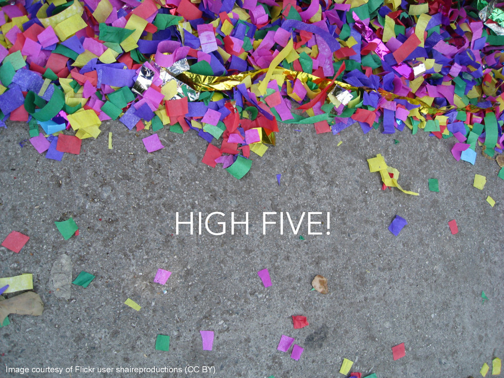 HIGH FIVE! Image courtesy of Flickr user shaire...