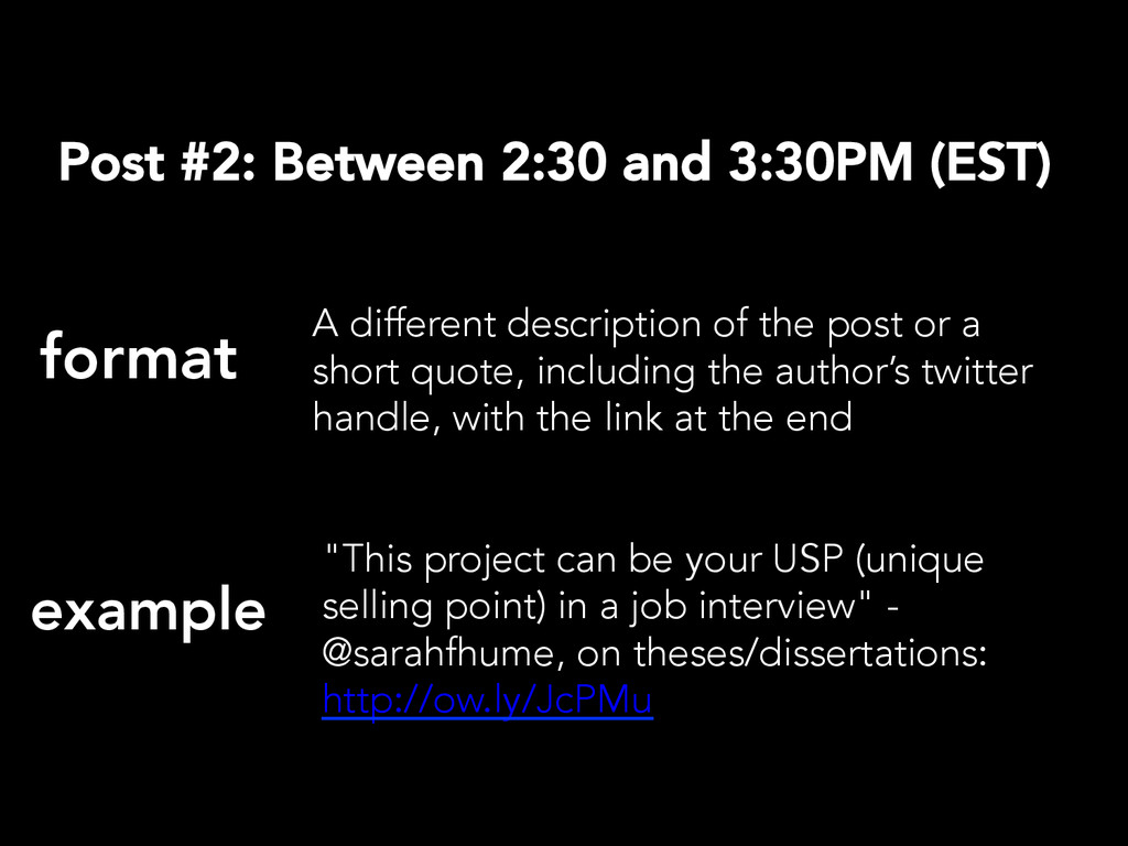 Post #2: Between 2:30 and 3:30PM (EST) format...