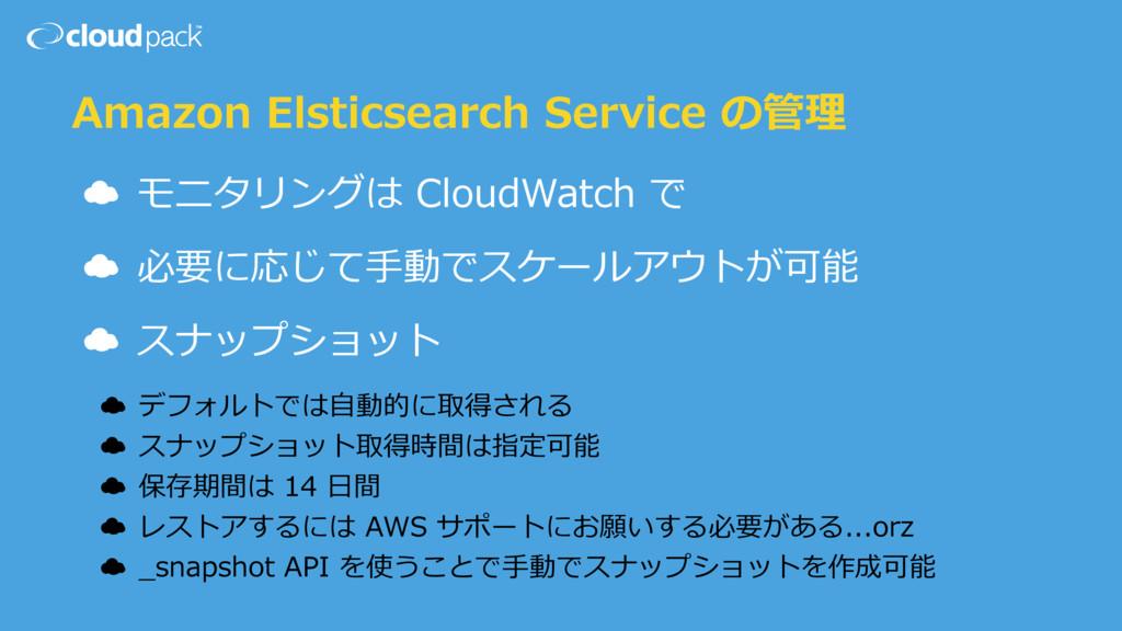 Amazon Elsticsearch Service の管理 ☁ モニタリングは Cloud...