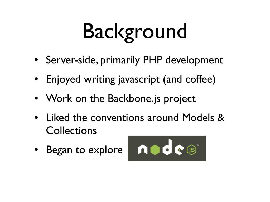 Background • Server-side, primarily PHP develop...