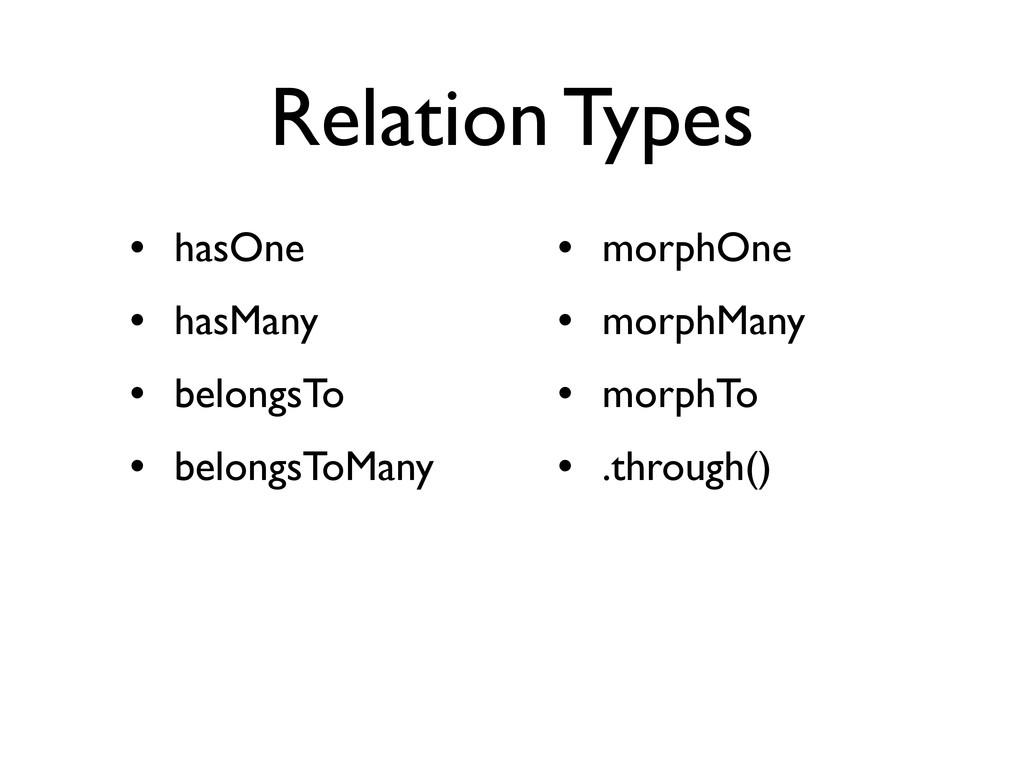 Relation Types • hasOne • hasMany • belongsTo •...