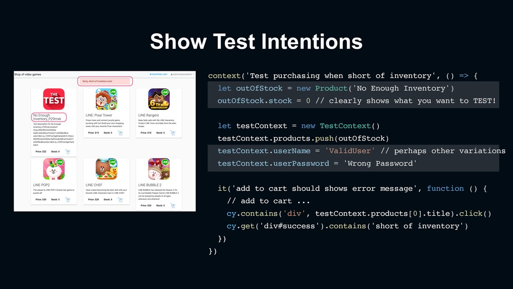 Show Test Intentions context('Test purchasing w...