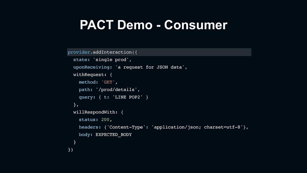 PACT Demo - Consumer provider.addInteraction({ ...