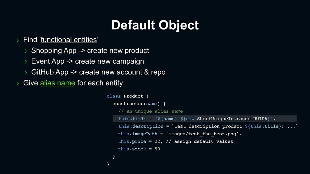 Default Object class Product { constructor(name...