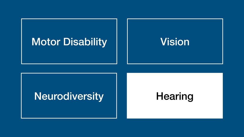 Motor Disability Vision Neurodiversity Hearing