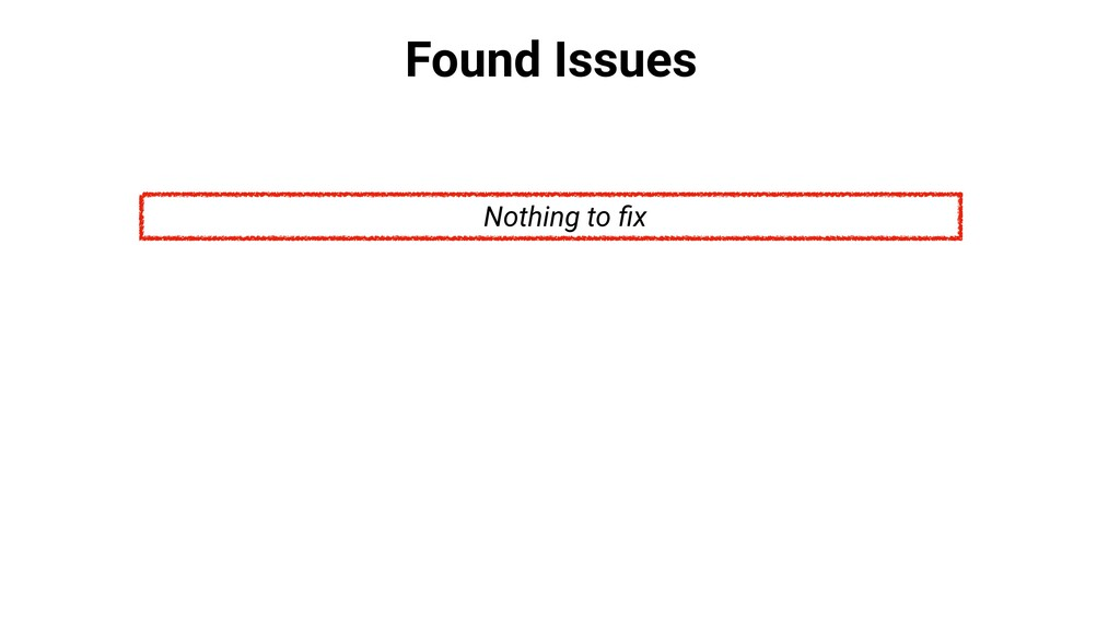 Found Issues Nothing to fix