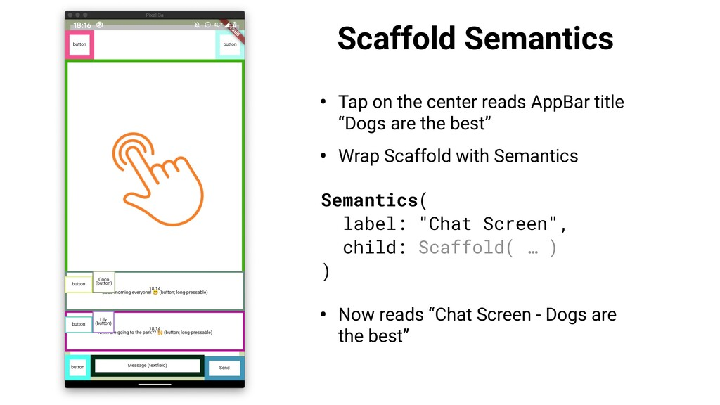 Scaffold Semantics • Tap on the center reads Ap...