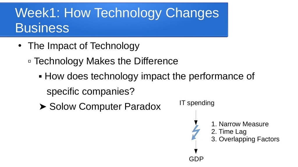 Week1: How Technology Changes Business ● The Im...
